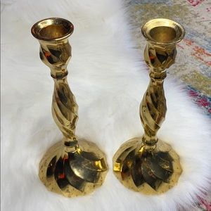 Candlesticks Vintage Distressed Patina Brass Set